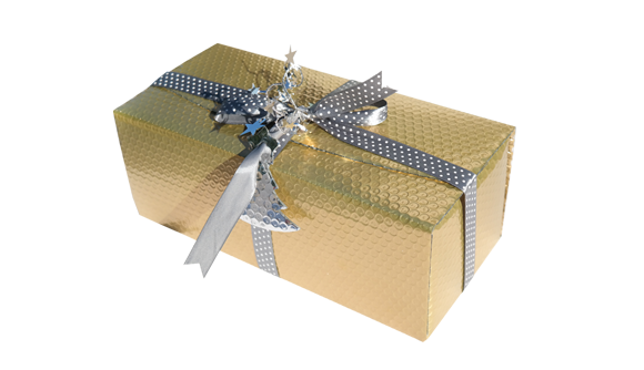 Caixa rectangular metalizada dourado