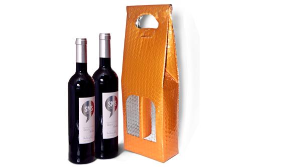 Bolsa Metalizada para Duas Garrafas de Vinho